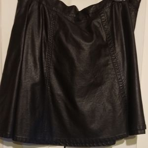 F21+ Plus Faux Leather Black Flare Skirt XL NWOT